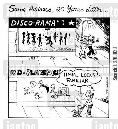 discos cartoon humor: 'Same address, 20 years later'
