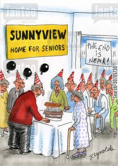 partiers cartoon humor: Home for Seniors.