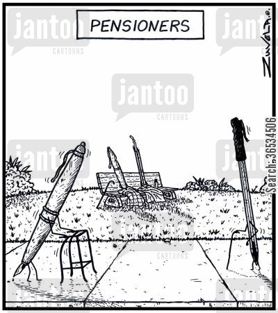 retirement age cartoon humor: Pensioners - Old ink Pens at the park sitting and walking