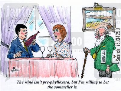 old aged cartoon humor: 'The wine isn't pre-phylloxera, but I'm willing to bet the sommelier is.'