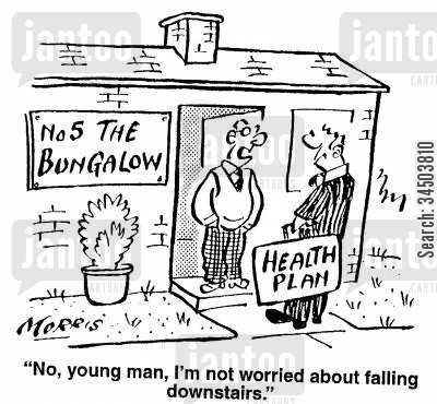 sales representative cartoon humor: No, young man, I'm not worried about falling downstairs.