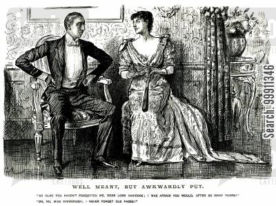 politeness cartoon humor: Man talking to a lady