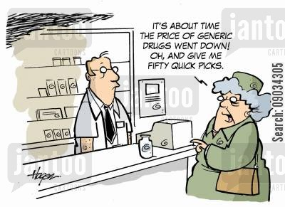 generic cartoon humor: Prescription Drugs.