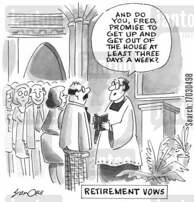 marriage vows cartoon humor: RETIREMENT VOWS