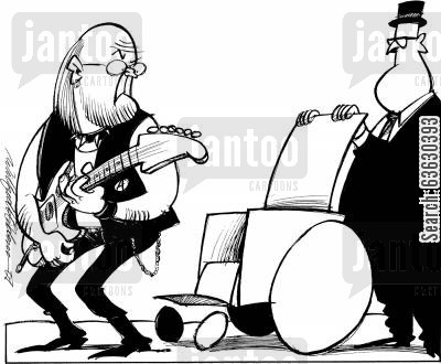 rock and roll cartoon humor: Too old to rock'n'roll now, Sir?