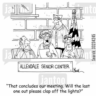 clapper cartoon humor: 'That concludes our meeting. Will the last one out please clap off the lights.'