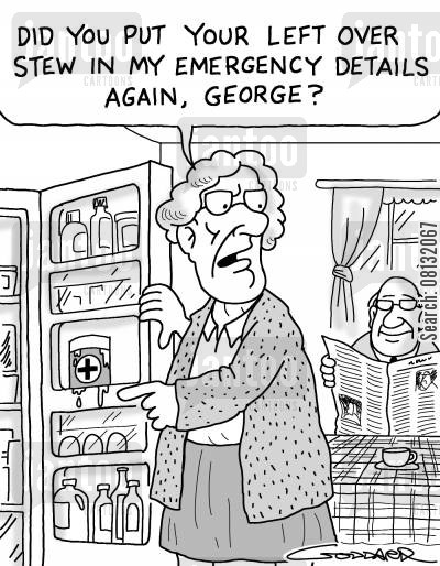 elderly couples cartoon humor: 'Did you put my leftover stew in the emergency details again, George?'