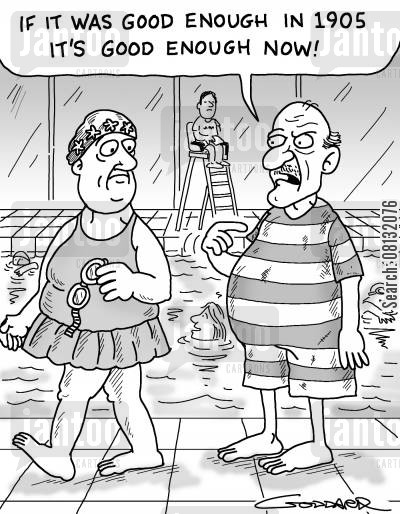 swimming costume cartoon humor: 'It was good enough in 1905 it's good enough now.'