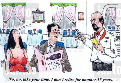 retirement ages cartoon humor: 'No, no, take your time. I don't retire for another 15 years.'
