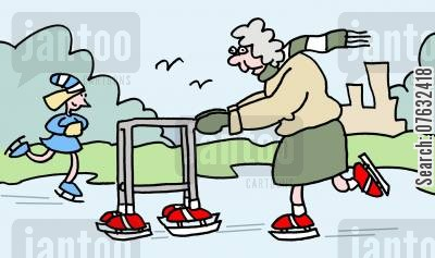 iceskates cartoon humor: Old Lady Skating With Zimmer Frame.