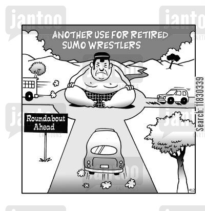 sumo wrestlers cartoon humor: Another use for retired sumo wrestlers: Roundabout ahead.