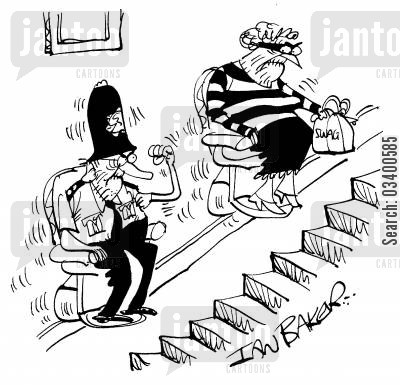 burgling cartoon humor: Pensioners On Stair Lifts