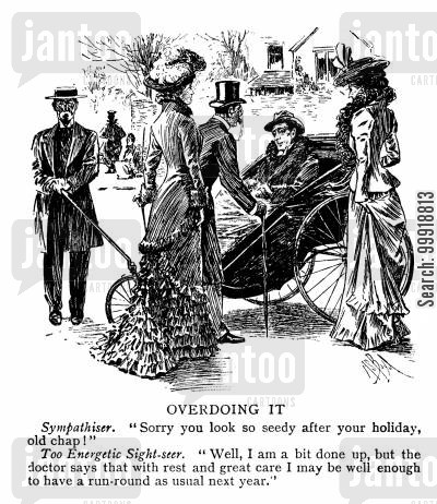 victorian wheelchair cartoon humor: Overdoing it.