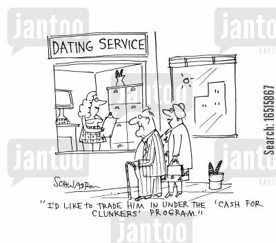 elderly person cartoon humor: 'I'd like to trade him under the ;cash for clunkers' program.'