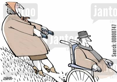 senior cartoon humor: Old lady losing control of wheelchair.
