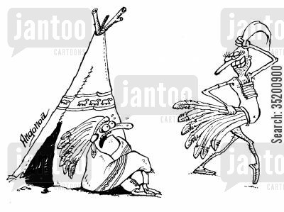 headdress cartoon humor: Native Americans flirting.