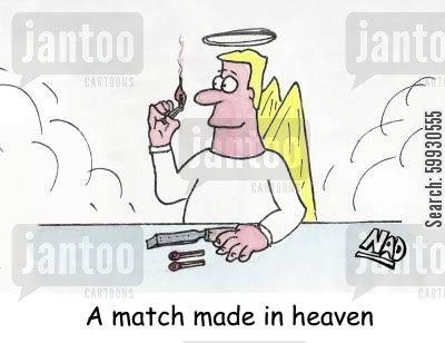 match sticks cartoon humor: A match made in Heaven