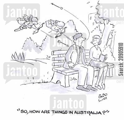 boomerang cartoon humor: 'So, how are things in Australia?'