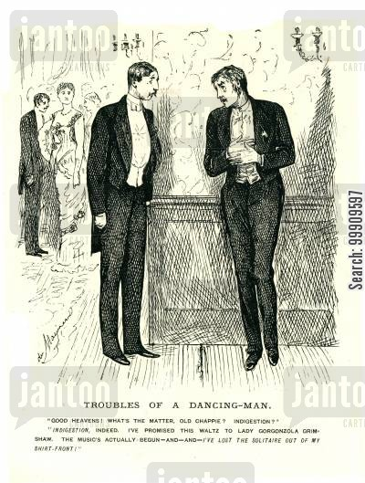 waltzes cartoon humor: A Man Hides From His Dance Partner At A Ball.