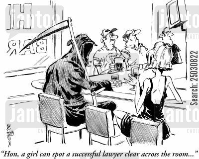 solicitation cartoon humor: 'Hon, a girl can spot a successful lawyer clear across the room...'