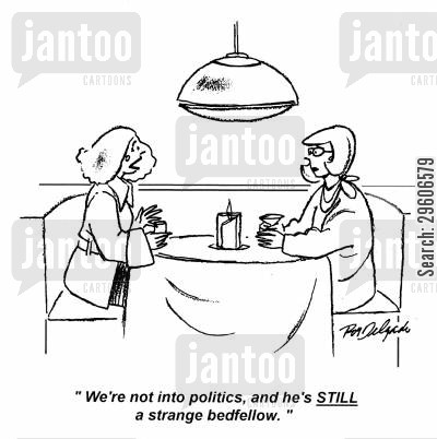 sleep together cartoon humor: 'We're not into politics, and he's still a strange bedfellow.'