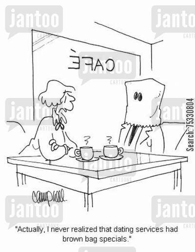 dating service cartoon humor: 'Actually, I never realized that dating services had brown bag specials.'
