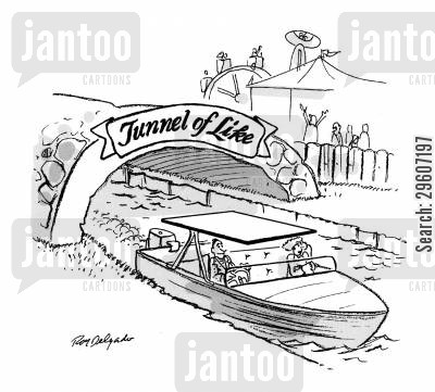 fairground cartoon humor: Tunnel of Like.
