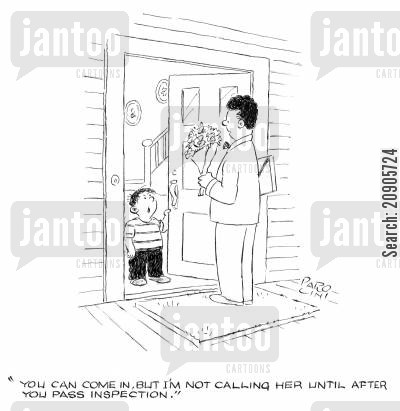 meet parents cartoon humor: 'You can come in, but I'm not calling her until after you pass inspection.'