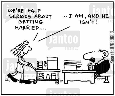 commitment phobia cartoon humor: 'We're half serious about getting married. I am, and he isn't.'