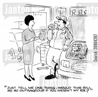 petty cartoon humor: 'Just tell me one thing. Would this bill be so outrageous if you weren't my ex?'