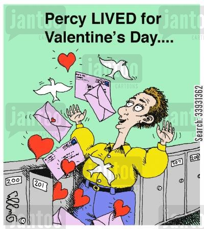 doves cartoon humor: Percy LIVED for Valentine's Day....