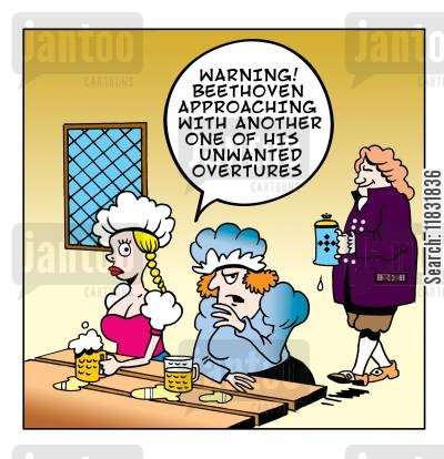 classical composer cartoon humor: Beethoven's unwanted overture.