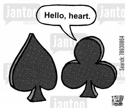 playing card cartoon humor: 'Hello, heart.'