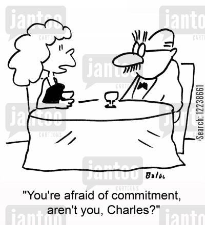 scared of commitment cartoon humor: 'You're afraid of commitment, aren't you, Charles?'