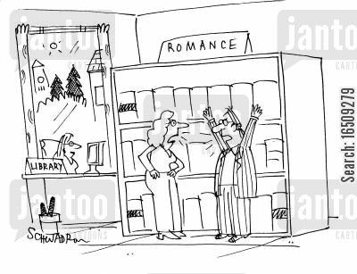 love stories cartoon humor: Couple arguing in the romance section of the library.