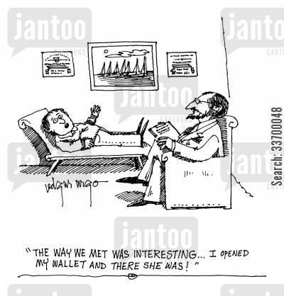 goldiggers cartoon humor: 'The way we met was interesting. I opened my wallet and there she was!'
