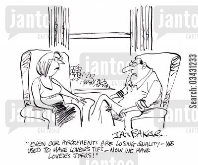 computer files cartoon humor: 'Even our arguments are losing quality - We used to have lover's tif's - Now we have lover's jpegs!'