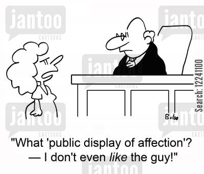 pda cartoon humor: 'What 'public display of affection'? -- I don't even LIKE the guy!'
