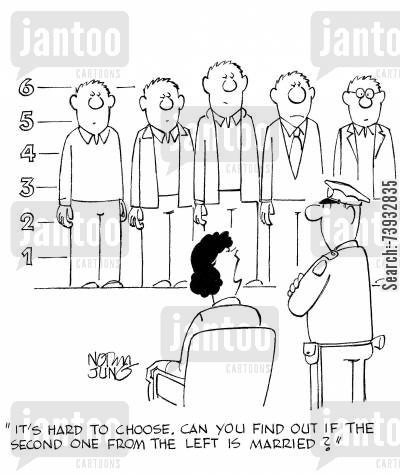 flirtations cartoon humor: 'It's hard to choose. Can you find out if the second one from the left is married?'