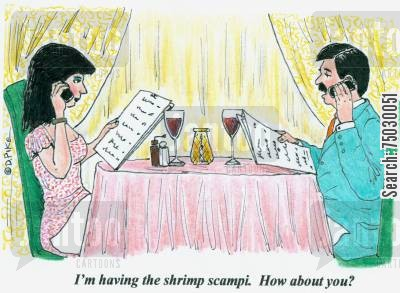 fish restaurants cartoon humor: 'I'm having the shrimp scampi. How about you?'