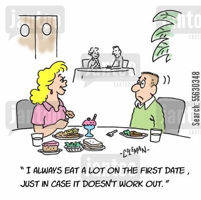 dinner dates cartoon humor: 312 - Eat A Lot On The First Date