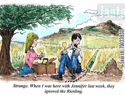 picnics cartoon humor: 'Strange. When I was here with Jennifer last week, they ignored the Riesling.'