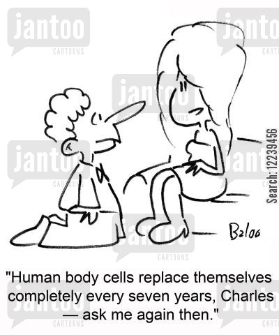 rejected marriage proposal cartoon humor: 'Human body cells replace themselves completely every seven years, Charles -- ask me again then.'