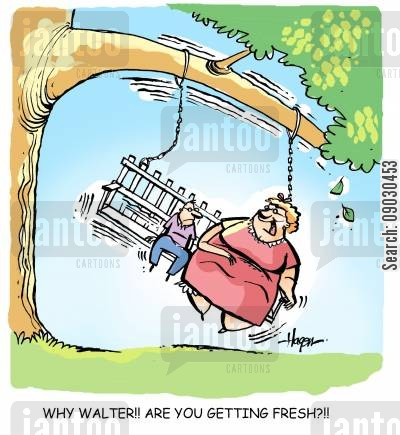 swing seats cartoon humor: 'Why Walter!! Are you getting fresh?!!'