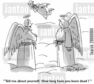 chat up line cartoon humor: 'Tell me about yourself. How long have you been dead?'
