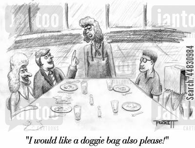double dating cartoon humor: A woman sits at table with a bag over her head. A man with an unattractive date asks waitress: 'I would like a doggie bag also please!'