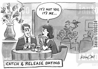 on a date cartoon humor: Catch and release dating.