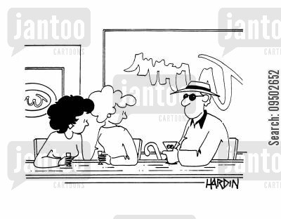 cocktail bar cartoon humor: Man and Two Women in a Bar.