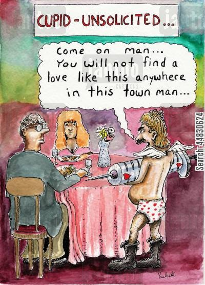 drug pusher cartoon humor: Cupid - Unsolicited.