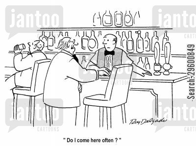 pick-up line cartoon humor: 'Do I come here often?'